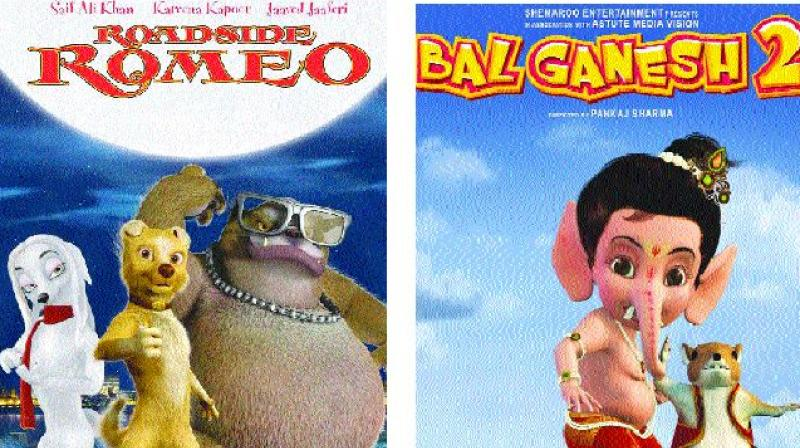 Posters of Indian animated movies Roadside Romeo and Bal Ganesh 2