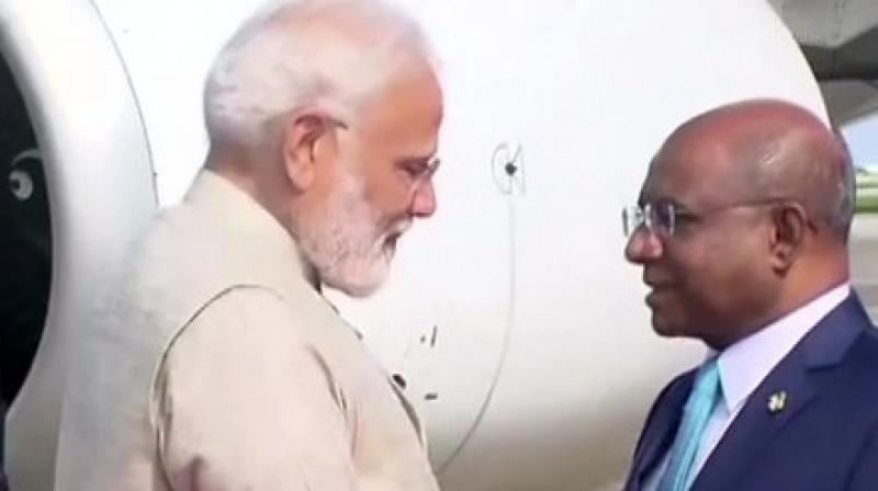 Prime Minister Narendra Modi was received by Maldivian Foreign Minister Abdulla Shahid at Male airport. (Photo:ANI/File)
