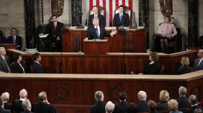President Donald Trump addresses a joint session of Congress on Capitol Hill in Washington. (Photo: AP)