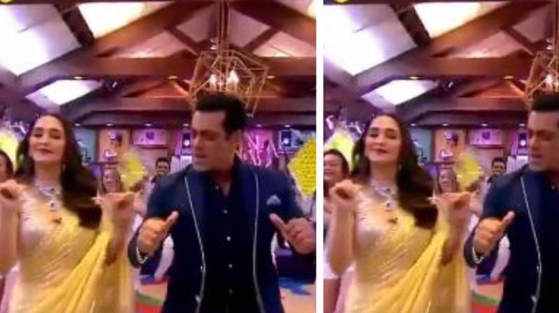 Salman Khan and Madhuri Dixit. (Image Source: Twitter/ Bigg Boss)