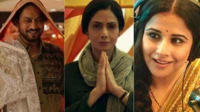 Irrfan Khan in 'Hindi Medium', Sridevi in 'Mom' and Vidya Balan in 'Tumhari Sulu.'