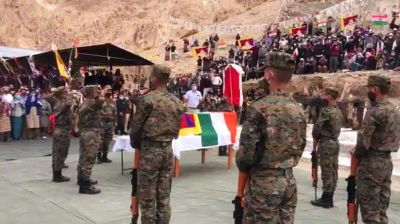 The last rites of the commando was was performed in Ladakh with full honors in public glare attended by top BJP functionaries. — DC photo