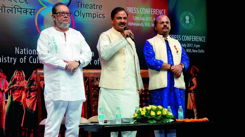NSD chairperson Ratan Thiyam (from left), Union minister Mahesh Sharma and NSD director Waman Kendre NSD at a press conference on Wednesday. (Photo: Asian Age)
