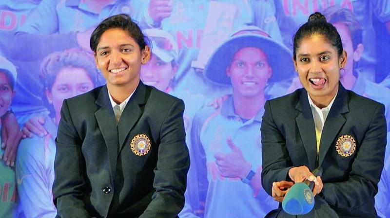 Harmanpreet Kaur and the Indian women's team skipper Mithali Raj in New Delhion Thursday. (Photo: Biplab Banerjee)