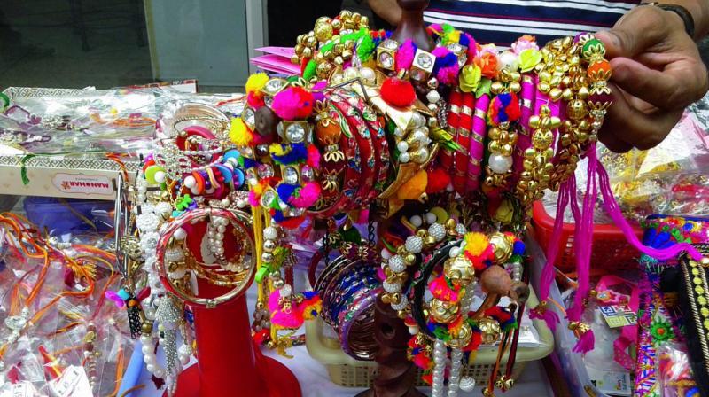 Handmade rakhis at Chandni Chowk market.