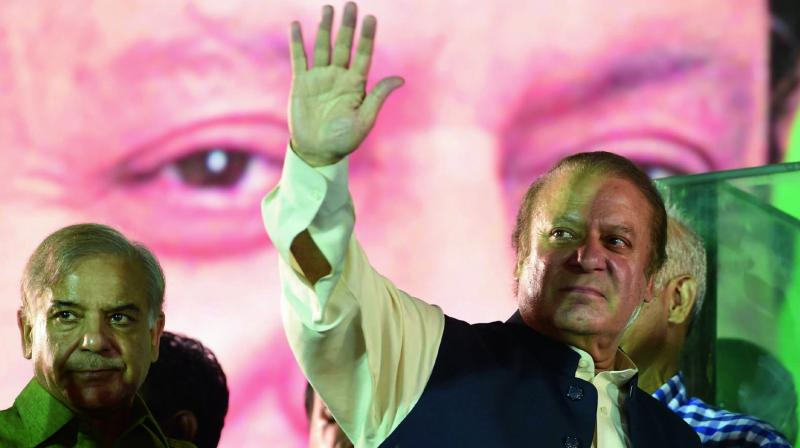 Ousted Pakistani Prime Minister Nawaz Sharif addresses supporters in Lahore on Saturday. (Photo: AFP)