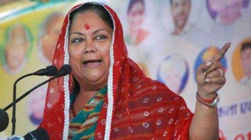 Vasundhara Raje making a point at a rally. (Photo: PTI)