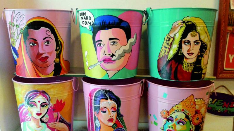 Fancy buckets for sale at a store in Shahpur Jat. (Photo: Asian Age)