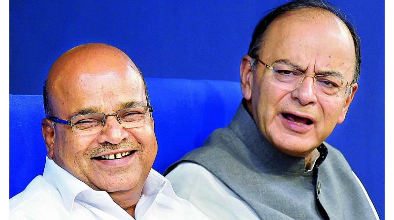 Union Minister for Social Justice and Empowerment Thawar Chand Gehlot (front). (Photo: PTI)