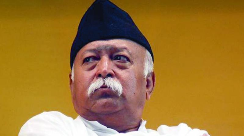 Addressing a gathering of RSS 'swayamsevaks' in Guwahati, days before three states of the region go to polls, the RSS chief said India will survive as long as Hinduism thrives. (Photo: File)
