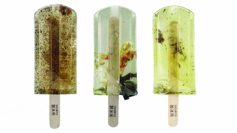 These '100 per cent Polluted Water Popsicles', are flavoured with plastic waste, sewage, cigarette butts, condoms, oil spill, harmful dyes, resin, dead fish, wrappers, bottle caps et al.