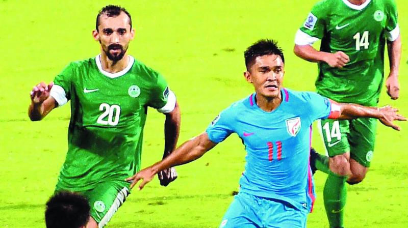 India's Sunil Chettri (right) in action against Macau in their AFC Asian cup qualifier at the Kanteerava Stadium in Bengaluru on Wednesday. The hosts won 4-1. (Photo: PTI )