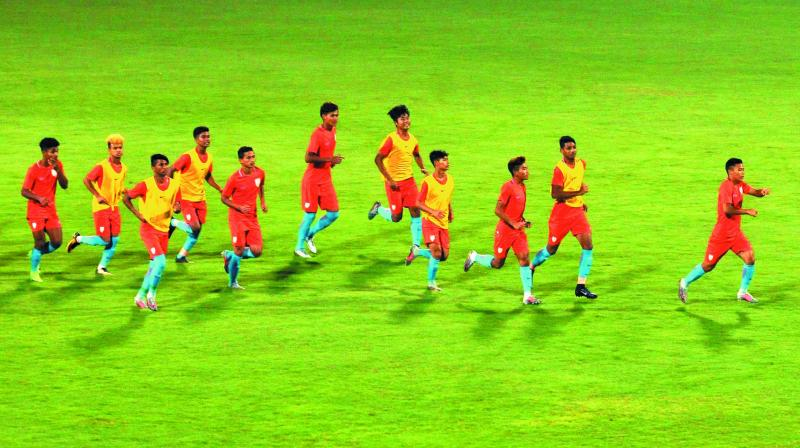 Indian players at a practice session in New Delhi on Wednesday ahead of their Fifa Under-17 World Cup Group A match against Ghana. (Photo: Pritam Bandyopadhyay)