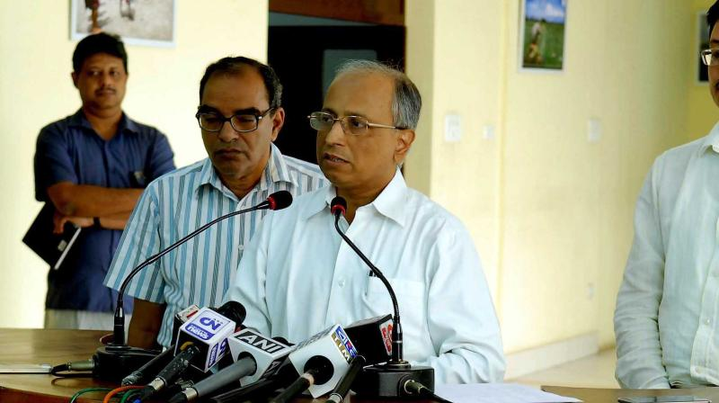 State chief secretary Malay Dey speaks on Dengue at the press meet held in Nabanna on Tuesday. (Photo: Abhijit Mukherjeet)