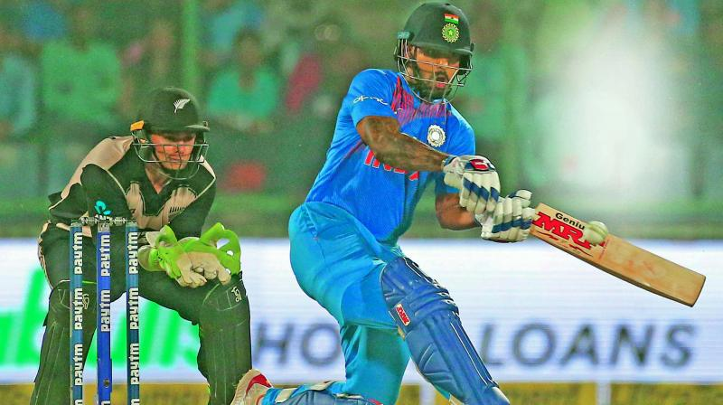 Shikhar Dhawan en route to his knock of 80 against New Zealand. (Photo: PTI)