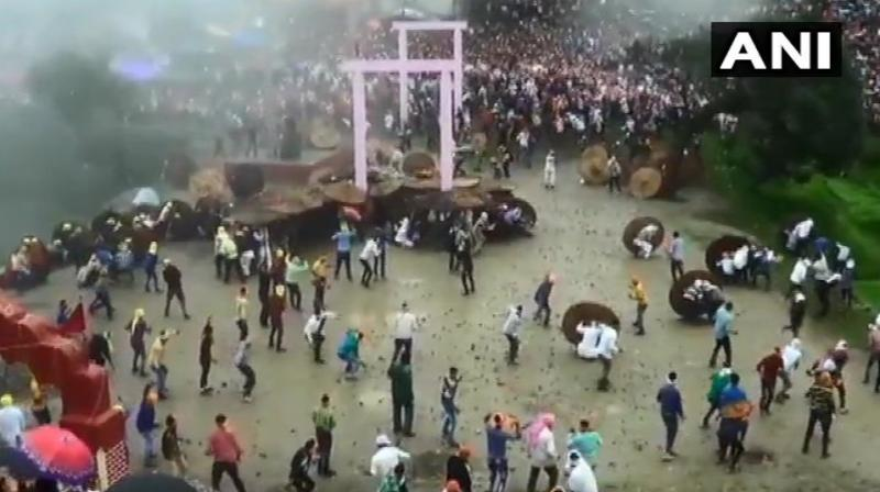 Locals believe that the goddess was pleased only after blood, equivalent to a human sacrifice, is shed during the sport, which was witnessed by thousands of people. (Photo: ANI)