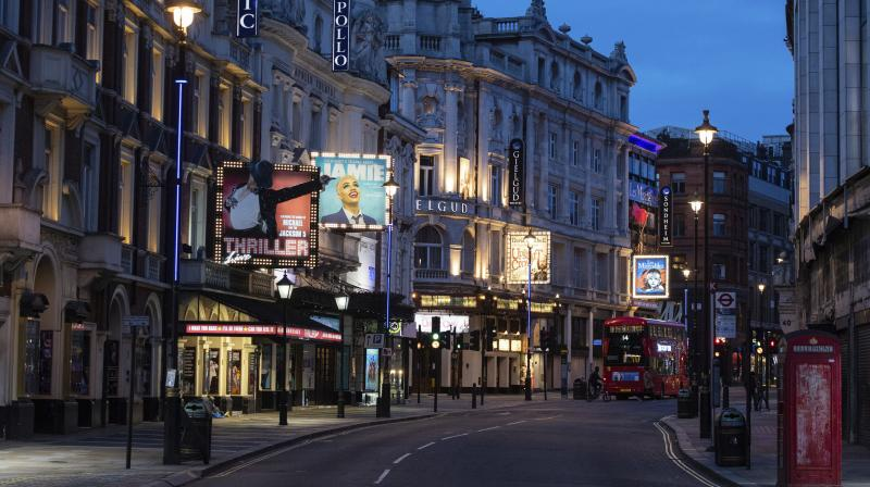 Shaftesbury Avenue in London is seen on Saturday. AFP Photo