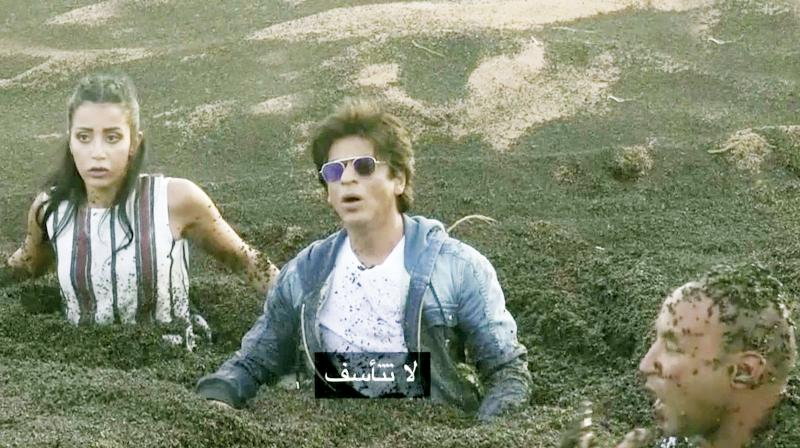 A screen grab of Egyptian show in which SRK  participated.