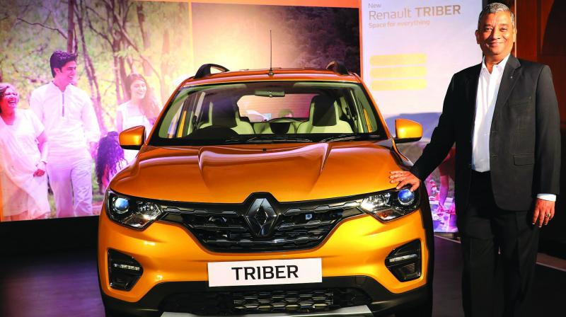 """Renault, Europe's biggest car maker but struggling in India, on Wednesday launched Renault Triber, which it dubbed as a """"game changer"""" at the competitive price to double its sales volume to 2,00,000 units annually in the mid-term."""