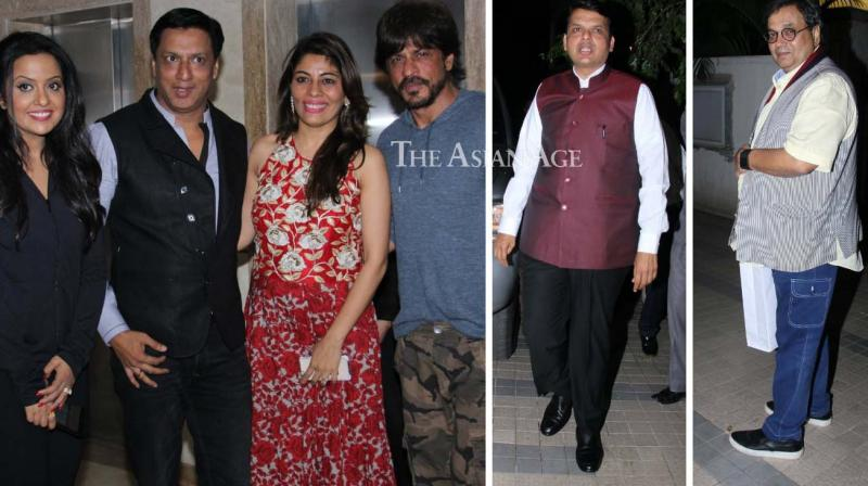 Shah Rukh Khan, Maharashtra CM Devendra Fadnavis and several other stars were seen at a bash thrown by Madhur Bhandarkar on Wednesday. (Photo: Viral Bhayani)