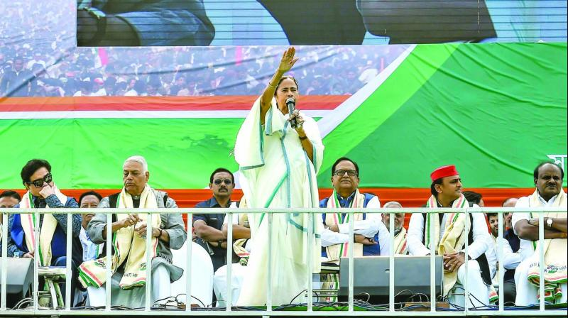 West Bengal CM and Trinamul Congress chief Mamata Banerjee speaks during the Opposition parties' mega 'United India' rally at the historic Brigade Ground in Kolkata. (Photo: PTI)