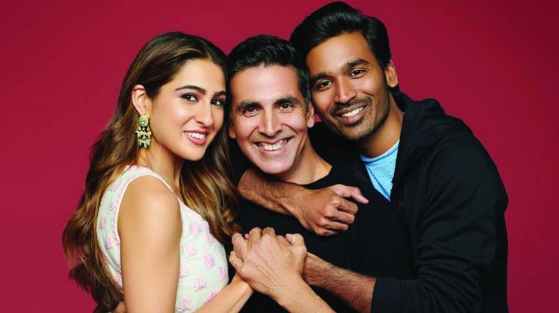 Akshay Kumar, Dhanush and Sara Ali Khan