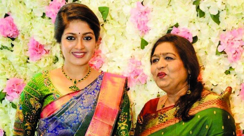 Meghana Raj with mother Pramila Joshai