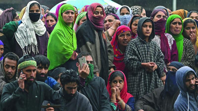 A file photo of Kashmiri villagers at a funeral procession of top militant commander Zakir Musa of Ansar Ghazwat-ul-Hind group, which claims affiliation with Al Qaeda, at Dadsar village in Tral on May 24.