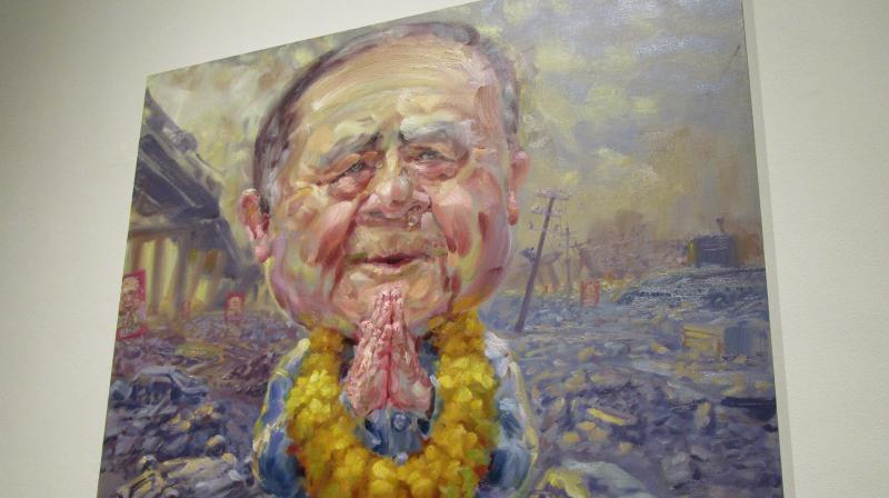 Well-known Thai artist Lampun Kansanoh's caricature of the Thai PM at the Biennale.