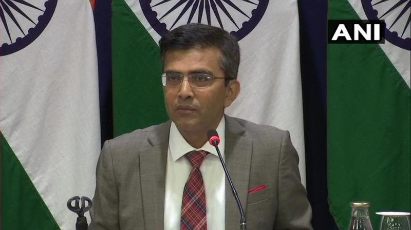 'We strongly condemn the recent statements by Pakistani leadership on matters internal to India. These are very irresponsible statements,' said MEA spokesperson Raveesh Kumar. (Photo: ANI)