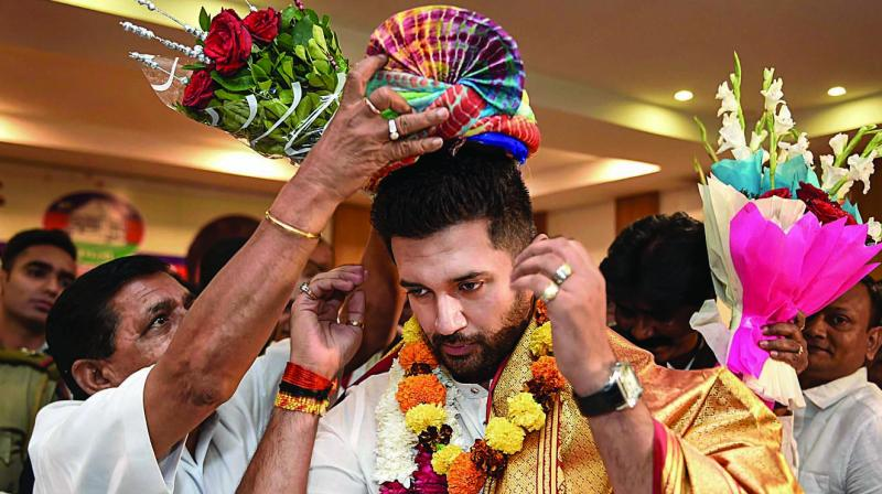 Newly-elected LJP chief Chirag Paswan in New Delhi on Tuesday. (Photo: PTI)