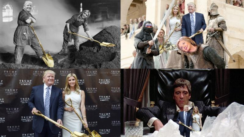 Donald and Ivanka Trump were recently seen posing with a golden shovel and the internet went crazy by putting their photoshop skills to use. (Photo: Reddit)