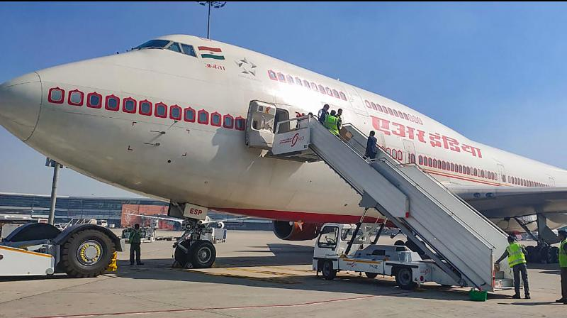 A B747 aircraft of the Air India at the Indira Gandhi Airport in New Delhi pror to its departure for coronavirus-hit city of Wuhan in China to bring back Indians, Friday, Jan. 31, 2020. (PTI Photo)