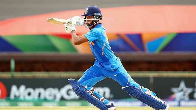 Yashasvi Jaiswal of India bats during the ICC U19 Cricket World Cup semi-final match between India and Pakistan in Potchefstroom, South Africa, Tuesday, Feb. 4, 2020. (PTI)