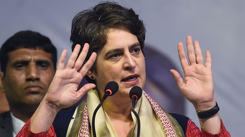 Congress gen sec Priyanka Gandhi Vadra speaks during an election rally in support of her party's candidate from Sangam Vihar constituency, Poonam Azad (unseen), in New Delhi, Tuesday, Feb. 4, 2020. The national capital goes to the polls on Feb. 8 and the results will be declared on Feb. 11. (PTI)