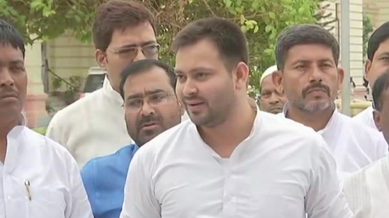 'Bihar has been ranked at bottom as per Public Affairs Index 2018. We will tell the people that Nitish Kumar has destroyed Bihar completely,' Tejaswi said. (Photo: ANI | Twitter)