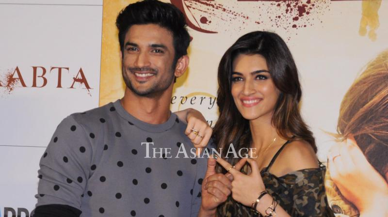 Sushant Singh Rajput and Kriti Sanon's chemistry was impressive in real life just like it is in the trailer of 'Raabta' that was launched on Monday. (Photo: Viral Bhayani)