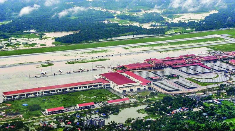 An aerial view of flood-hit areas of Cochin International Airport in Kerala on Friday. (Photo: PTI)