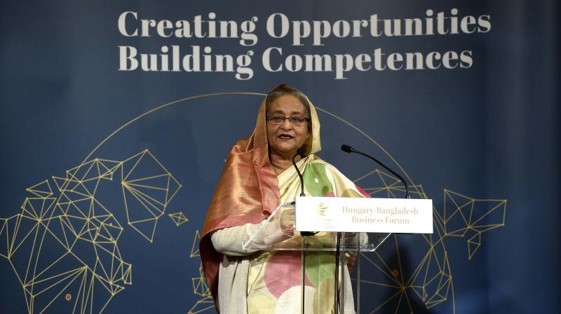 Bangladeshi Prime Minister Sheikh Hasina Wazed addresses the Hungarian-Bangladeshi Business Forum, during an official visit, in Budapest. (Photo: AP)