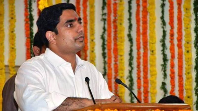 Addressing the 'dharma poratam sabha' in Vizag on Tuesday, the Information Technology, Panchayati Raj and Rural Development Minister said, 'Telugu people showed you just a trailer in Karnataka elections. They will show you the full movie in 2019 elections.' (Facebook/NaraLokesh)