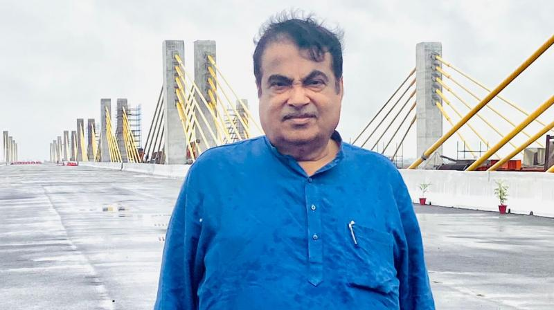 Union Minister of Road Transport & Highways Nitin Gadkari during the inspection of a bridge built across the Narmada river near Bharuch, Friday, Sept. 17, 2021. (Twitter)