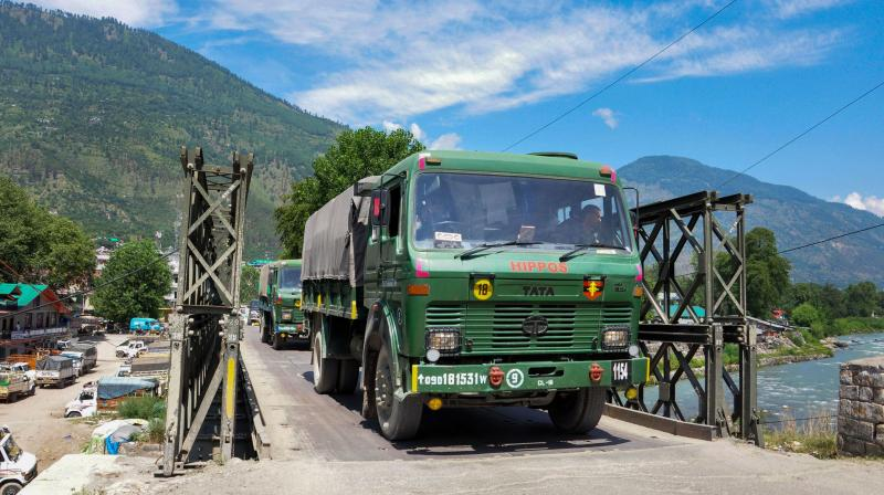 A convoy of Indian army trucks move towards the Line of Actual Control (LAC) in eastern Ladakh, in the backdrop of the current stand-off with Chinese troops, in Leh. PTI Photo