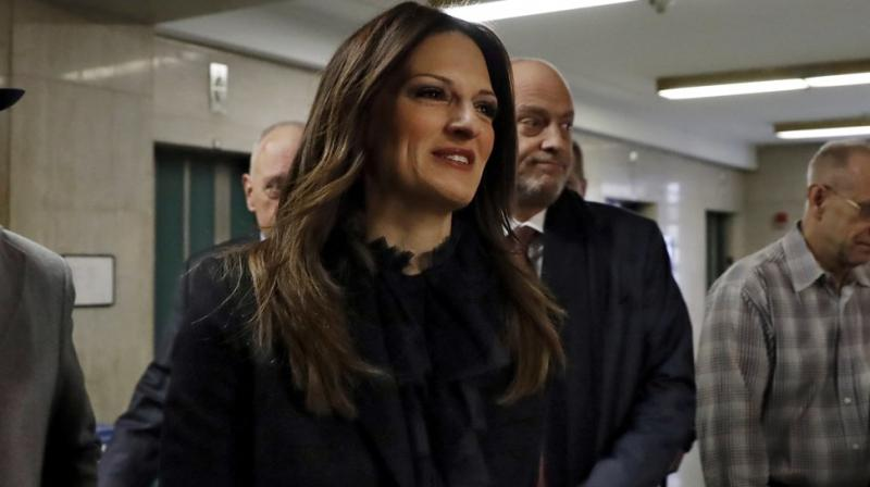 Harvey Weinstein's defense attorney Donna Rotunno arrives at court in his rape trial, in New York. AP photo