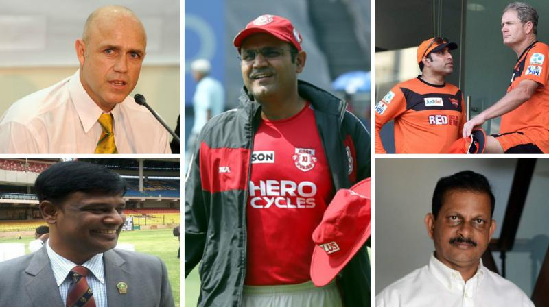 Virender Sehwag, Tom Moody, Richard Pybus, Lalchand Rajput and Dodda Ganesh are in contention become Team India head coach after Anil Kumble resigned from the position following differences with skipper Virat Kohli. (Photo: Asian Age / BCCI / AFP / Twitter)