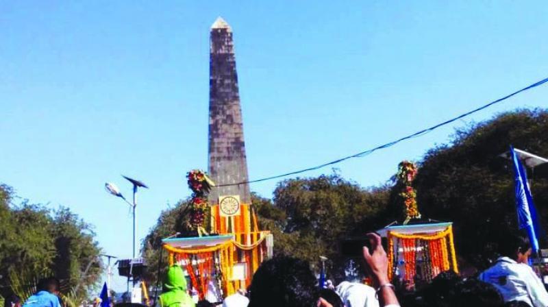 The monument commemorating the historic battle of  Bhima-Koregaon.