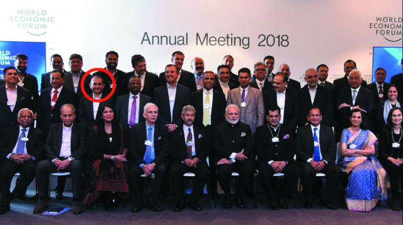 Nirav Modi (in red circle) and PM Narendra Modi along with the Indian business delegation at Davos in January.