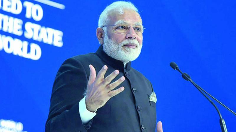 Prime Minister Narendra Modi delivers his speech at the World Economic Forum in Davos. (Photo: PTI)
