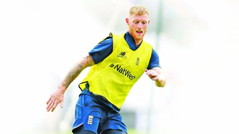 England all-rounder Ben Stokes trains on the eve of the World Cup opener against South Africa. (Photo: AFP)