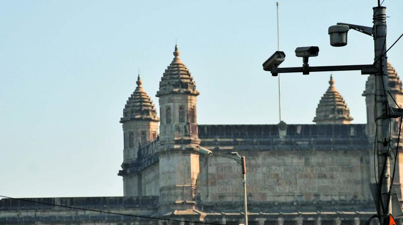A couple of CCTV cameras were spotted near the Gateway of India. Photo: Debashish Dey)