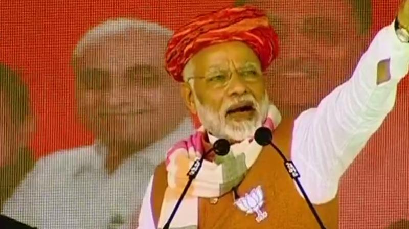 Prime Minister Narendra Modi asked the people of Jasdan to not let the Congress destroy the composite culture of Gujarat. (Photo: Twitter/ANI)